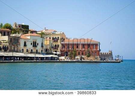 Hania City And The Old Venetian Port At Crete Greece