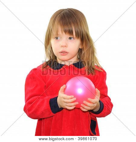 Little Girl With A Pink Ball
