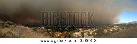 Fire In Yorba Linda Panorama