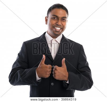 Thumbs up 30s Indian businessman giving thumbs up over white background