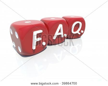 FAQ red plastic gambling casino cubes 3d - isolated white background