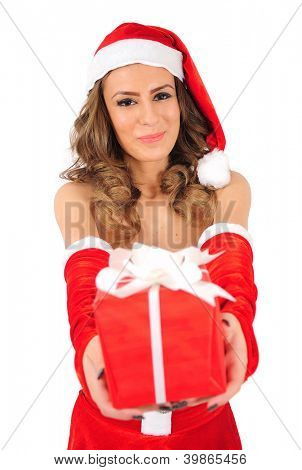 Isolated young christmas woman giving gift