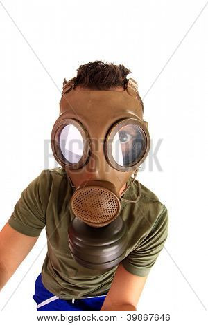 crazy portrait man in gas mask, studio photo