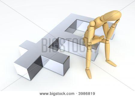 Lay Figure Sitting On Franc Symbol