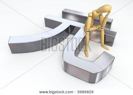 Lay Figure Sitting On Ren Min Bi Symbol