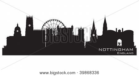 Nottingham, England Skyline. Detailed Silhouette. Vector Illustration