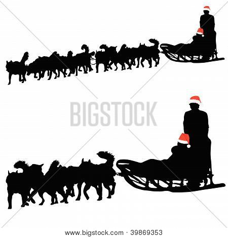 Husky Dog Pulling Sled New Year With Gifts Vector