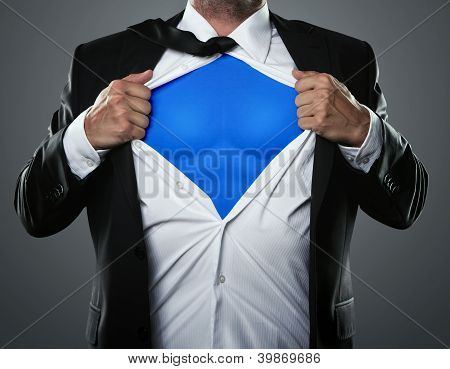 Businessman Acting Like A Super Hero
