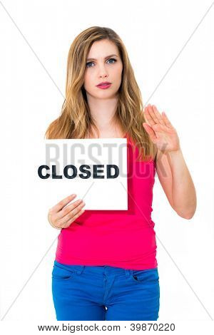 portrait young woman with board close