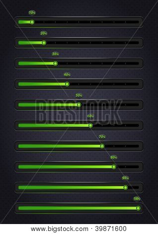 Glowing green progress bars. 10-100%