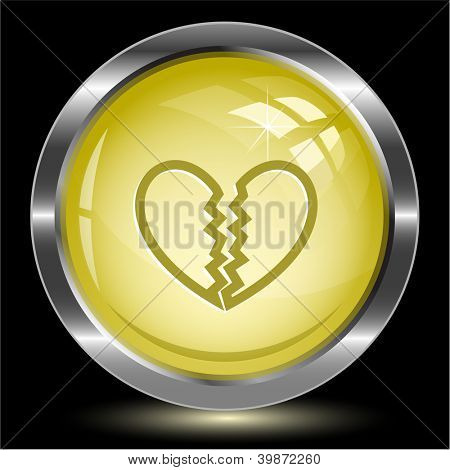 Unrequited love. Internet button. Raster illustration.