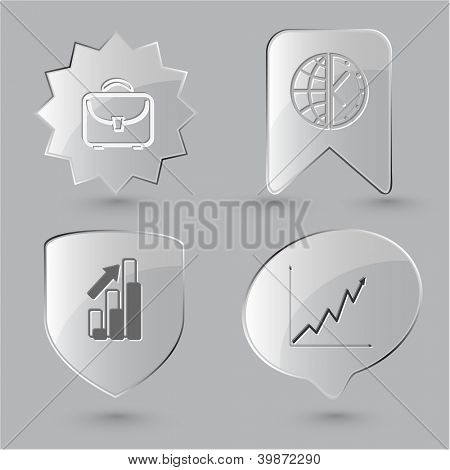 Business icon set. Briefcase, globe and clock, diagram. Glass buttons. Raster illustration.