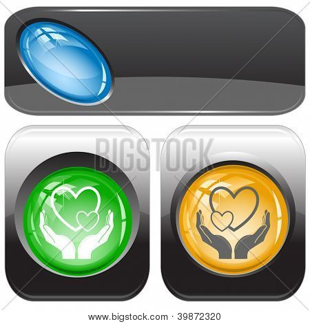 love in hands. Internet buttons. Raster illustration. Vector version is in my portfolio.