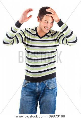 Young man with striped sweater on white background