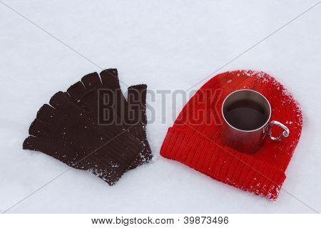 Red Wool Hat, Black Gloves And Mug