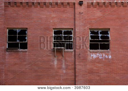 Broken Windows Of Abandoned Factory