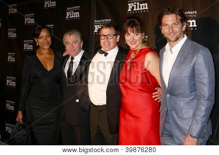 LOS ANGELES - DEC 8:  Grace Hightower, Robert DeNiro, David O. Russell and wife, Bradley Cooper arrives to the SBIFF Kirk Douglas Award  at Bacara Resort & Spa on December 8, 2012 in Santa Barbara, CA