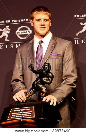 NEW YORK-DEC 8: Kansas State quarterback Collin Klein attends the 2012 Heisman finalists press conference at the Marriott Marquis on December 8, 2012 in New York City.
