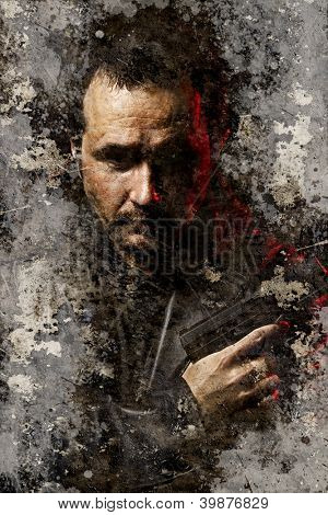 Artistic portrait with textured background, dangerous and armed robber