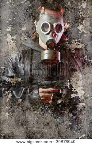 Artistic portrait with textured background, man armed with gas mask