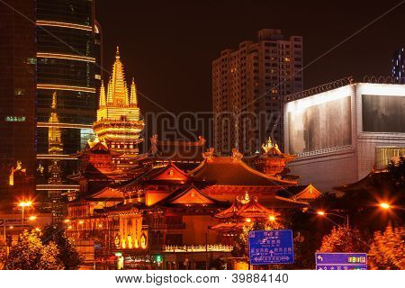 Golden Jing An Temple Park Nanjing Street Shanghai China At Night