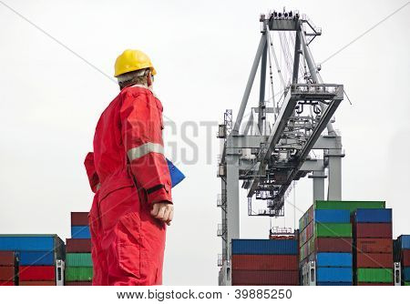 Docker overseeing a large crane, unloading containers