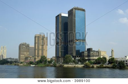 Cairo Views. Modern Skyscrapers Of League Of Arab States. Nile River.