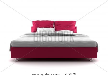 Red Bed Isolated On White Background