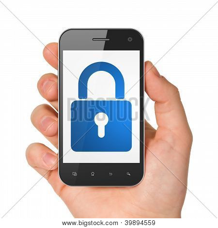 Hand holding smartphone with closed padlock on display. Generic