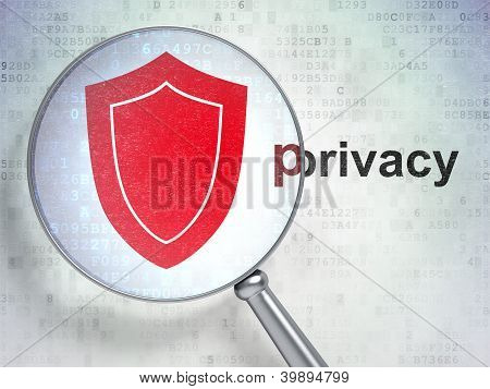 "Magnifying optical glass with shield icon and ""privacy"" word on"