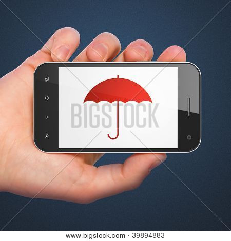 Hand holding smartphone with Umbrella on display. Generic mobile