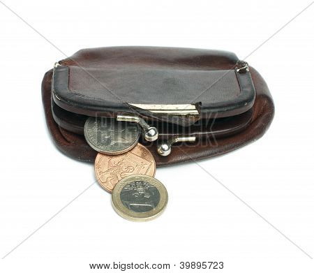 Old Ladies Brown Leather Purse