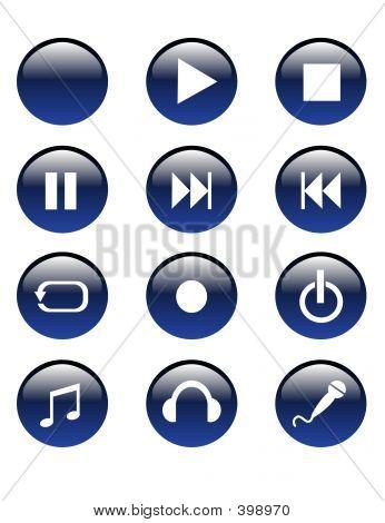 Blue Audio Buttons