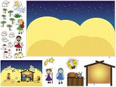 stock photo of christchild  - illustration of nativity for children cut and paste - JPG