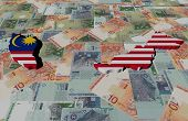 pic of ringgit  - Malaysia Map flag on Ringgit illustration - JPG