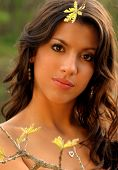 stock photo of senior prom  - young brunette in spring  - JPG