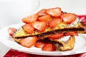 stock photo of french toast  - French toast with chocolate spread and strawberry - JPG
