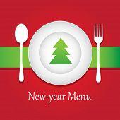Постер, плакат: Специальные новогодние и Рождественские меню ресторана Векторный дизайн шаблона
