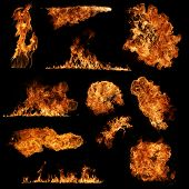 stock photo of infernos  - High resolution fire collection isolated on black background - JPG