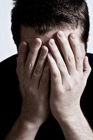 stock photo of sad face  - Mental breakdown concept - JPG