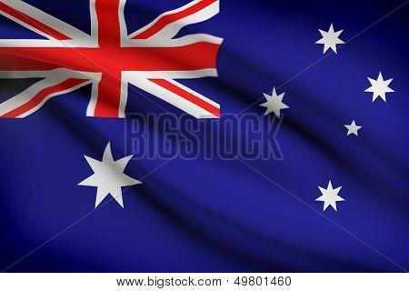 Series Of Ruffled Flags. Australia.