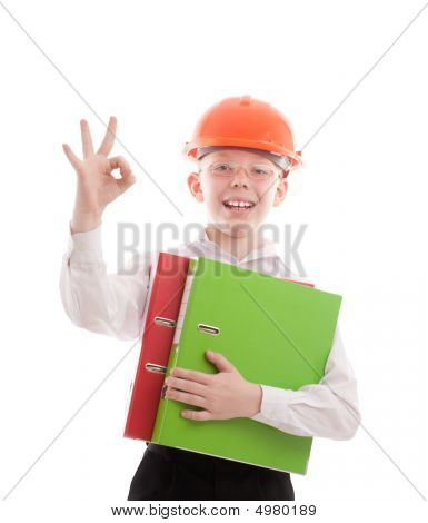 Happy Teenager In Helmet And Folders Show Ok Sign