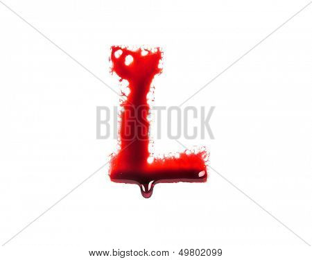 Blood fonts with dripping blood, the letter L