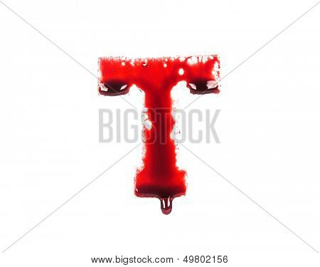 Blood fonts with dripping blood, the letter T