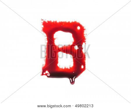 Blood fonts with dripping blood, the letter B