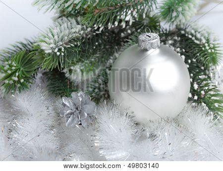 White nacreous glass New Year's ball