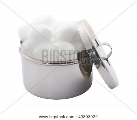 Side cotton wool container and cover on white background.