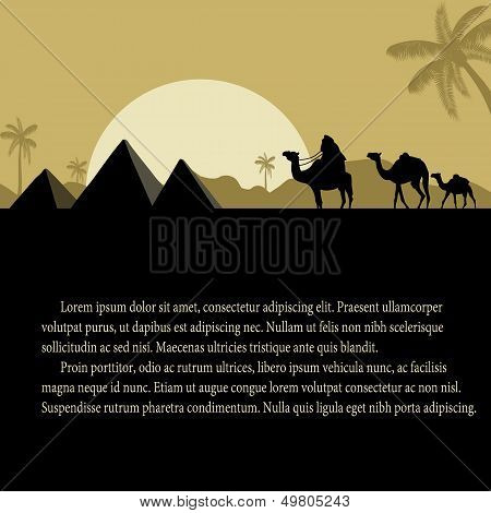 Egyptian Pyramids With Camels Caravan Poster