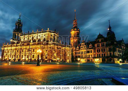 Dresden, Hofkirche on a stormy night