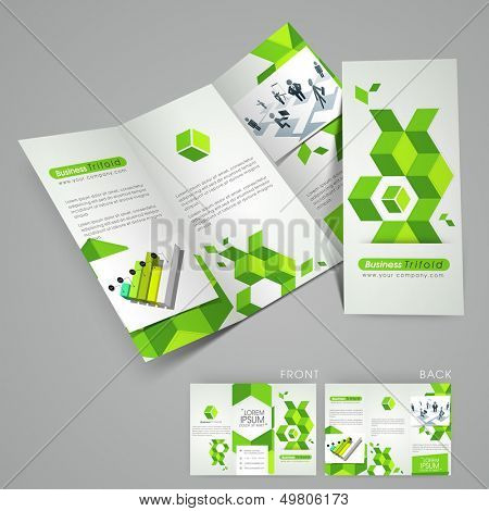 Professional business three fold flyer template, corporate brochure or cover design in green color, can be use for publishing, print and presentation.